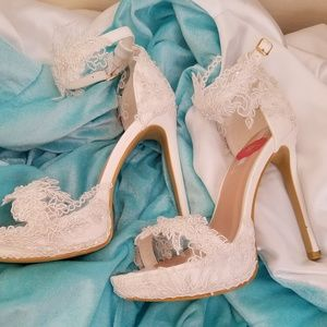 CUSTOM ORDER - White Embroidered Beaded Lace Heels
